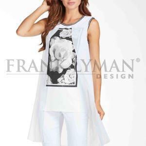 Frank Lyman Black/White Maxi Fooler Tunic - Sz M